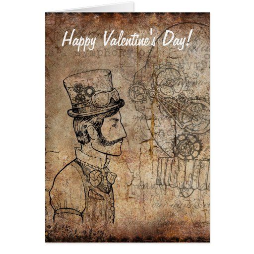 Steampunk Inventor Goggles Happy Valentine's Day Card