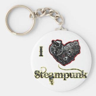 Steampunk Basic Round Button Keychain