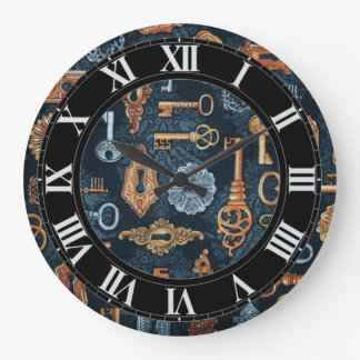 Steampunk Keys and Key Holes Pattern Wall Clock