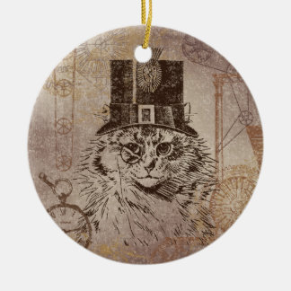 Steampunk Kitty Cat in Top Hat, Gears, Pocketwatch Ceramic Ornament