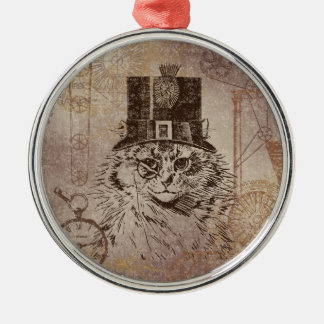 Steampunk Kitty Cat in Top Hat, Gears, Pocketwatch Metal Ornament
