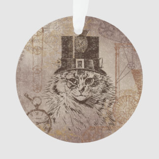 Steampunk Kitty Cat in Top Hat, Gears, Pocketwatch Ornament