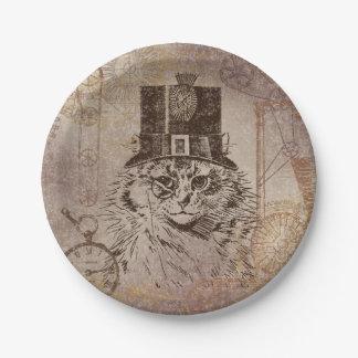 Steampunk Kitty Cat in Top Hat, Gears, Pocketwatch Paper Plate