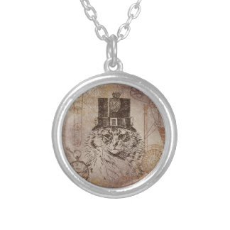 Steampunk Kitty Cat in Top Hat, Gears, Pocketwatch Round Pendant Necklace