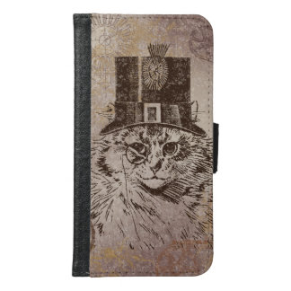 Steampunk Kitty Cat in Top Hat, Gears, Pocketwatch Samsung Galaxy S6 Wallet Case