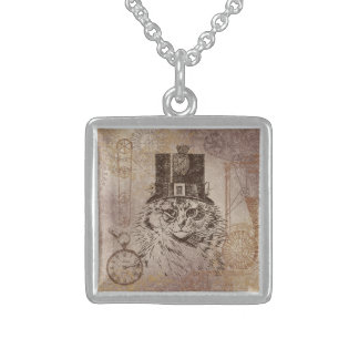 Steampunk Kitty Cat in Top Hat, Gears, Pocketwatch Square Pendant Necklace