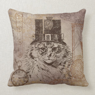 Steampunk Kitty Cat in Top Hat, Gears, Pocketwatch Throw Pillow