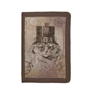 Steampunk Kitty Cat in Top Hat, Gears, Pocketwatch Trifold Wallet