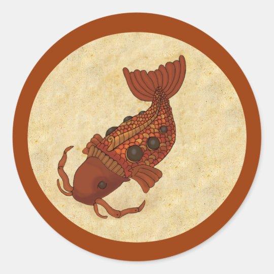 Steampunk Koi Classic Round Sticker