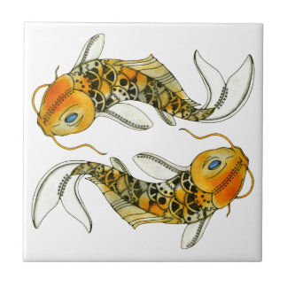Steampunk Koi Small Square Tile