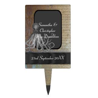 Steampunk kraken chalkboard vintage style wedding cake picks
