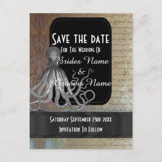 Steampunk kraken fantasy save the date announcement postcard