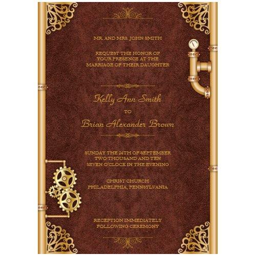 Elegant Steampunk Wedding Invitations