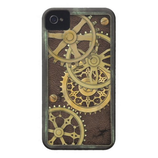 Steampunk Leather and Brass Case-Mate iPhone 4 Case