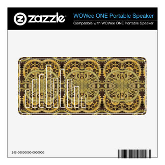 Steampunk Leather and Brass Cog WOWee WOWee Speaker Decals