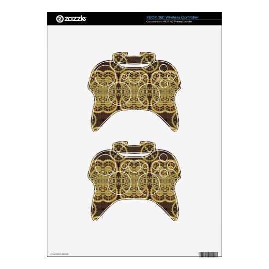 Steampunk Leather and Brass Cog Xbox Controllers Xbox 360 Controller Decal