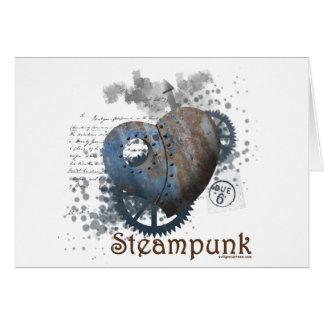 Steampunk love riveted heart card