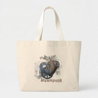 Steampunk love riveted heart jumbo tote bag