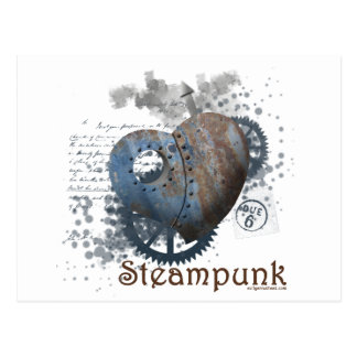 Steampunk love riveted heart post card