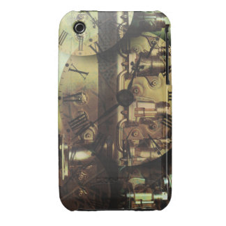 Steampunk Machine Fitting Textured Clock Faces iPhone 3 Cover