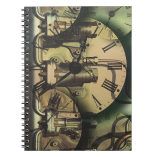 Steampunk Machine Fitting Textured Clock Faces Notebook