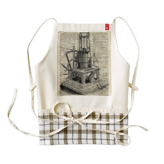 Steampunk machine stencil over old book page zazzle HEART apron