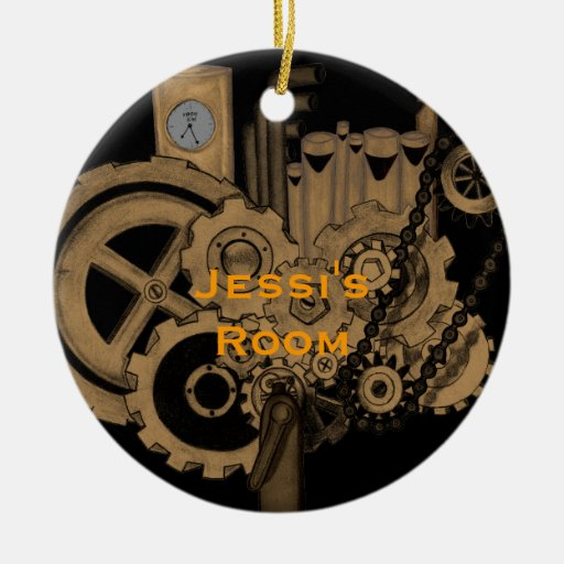 Steampunk Machinery (Brassy) Double-Sided Ceramic Round Christmas Ornament