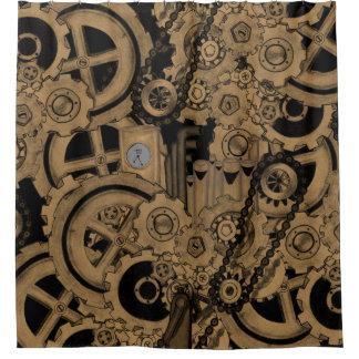 Steampunk Machinery (Brassy) Shower Curtain