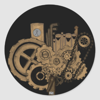 Steampunk Machinery (Brassy) Round Stickers