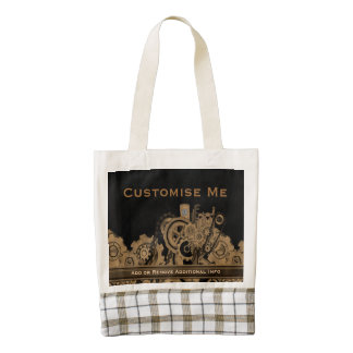 Steampunk Machinery (Brassy) Zazzle HEART Tote Bag