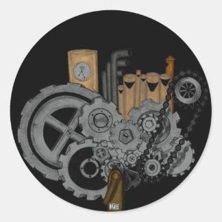 Steampunk Machinery Classic Round Sticker