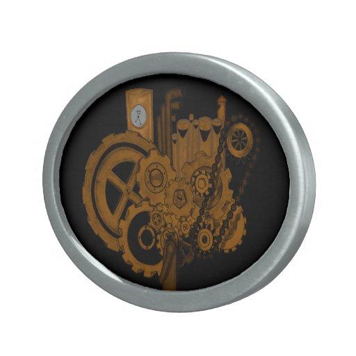 Steampunk Machinery (Copper) Oval Belt Buckles