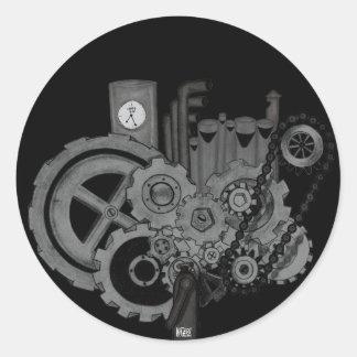 Steampunk Machinery (Monochrome) Classic Round Sticker