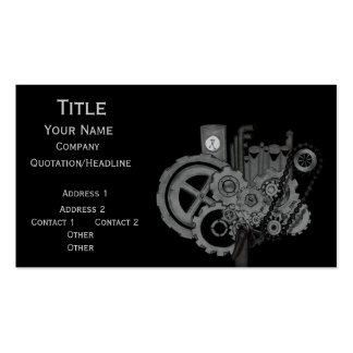 Steampunk Machinery (Monochrome) Double-Sided Standard Business Cards (Pack Of 100)