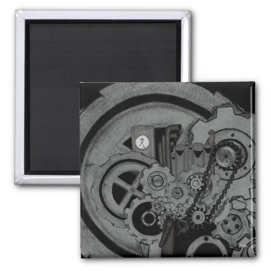 Steampunk Machinery (Monochrome) Magnet