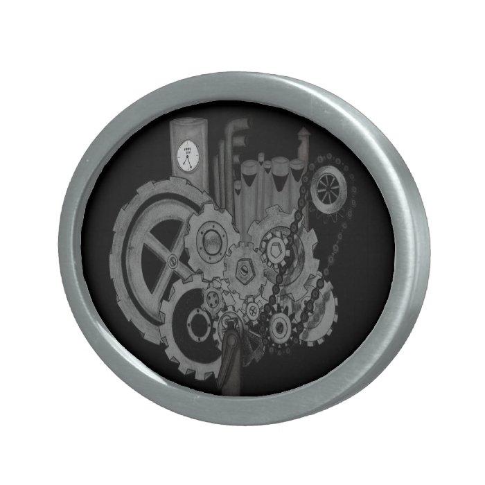 Steampunk Machinery (Monochrome) Oval Belt Buckle