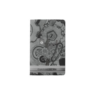 Steampunk Machinery (Monochrome) Pocket Moleskine Notebook Cover With Notebook