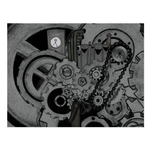 Steampunk Machinery (Monochrome) Postcard