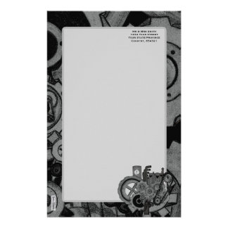 Steampunk Machinery (Monochrome) Stationery