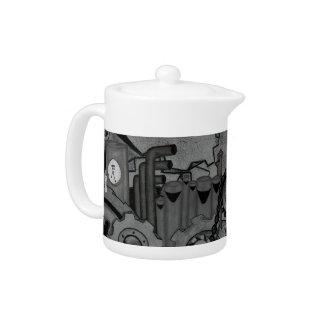 Steampunk Machinery (Monochrome) Teapot