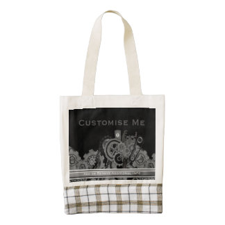 Steampunk Machinery (Monochrome) Zazzle HEART Tote Bag