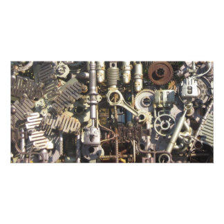 Steampunk machinery photo card template