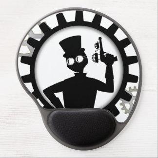 Steampunk Man Holding Gun in Gear Gel Mousepad