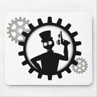 Steampunk Man Holding Gun in Gear Mouse Pad