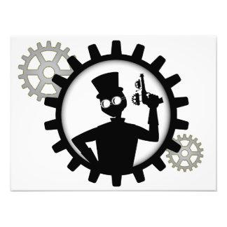 Steampunk Man Holding Gun In Gear Photo Print