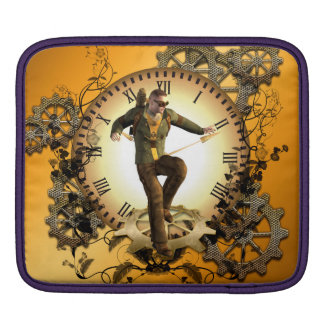 Steampunk, man on a clock with gears sleeve for iPads