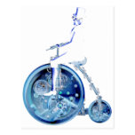 Steampunk man on penny farthing blue white neon post card
