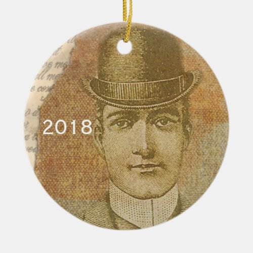 Steampunk Man Pocket Watch Bowler Hat Ceramic Ornament