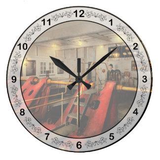 Steampunk - Man the controls 1908 Large Clock
