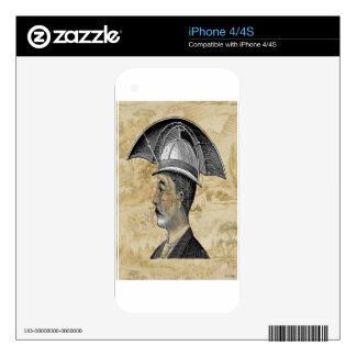 Steampunk Man Umbrella Hat Decal For iPhone 4